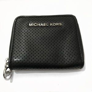 Michael Kors Black Perforated Zipper Wallet